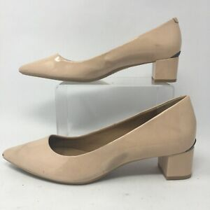 Calvin Klein Women 7.5 Genoveva Dress Pumps Nude Patent Leather Block Heels