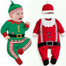 Baby Christmas Clothes Outfits Boy Girl Kids Romper Hat Cap Set Gift for 0-2Y UK