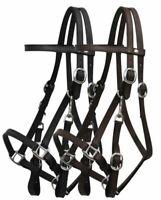 Leather Halter Bridle Combination w/ 7' Leather Split Reins