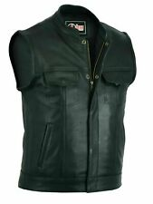 Mens Real Leather Waistcoat Plus Size SOA Chrome Motorcycle Biker Cut off Vest