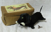 Vintage DACHSHUND, P Design, Japan - Black Wiener Dog w/Box! Wind-Up Toy, WORKS!