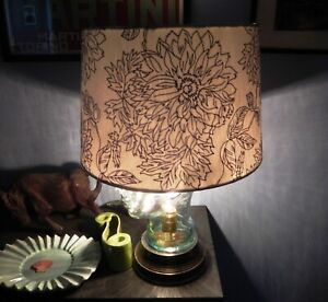 """Off-White Drum Lamp Shade Modern Silver Flowers 15""""x13""""x10"""" - NEW"""