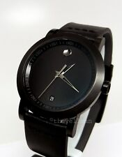 Mens Authentic Swiss Made Movado Museum Sport Black Out PVD Ion 42mm Watch