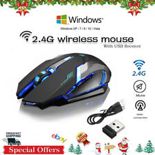 Wireless Optical Gaming Mouse Rechargeable Mice + USB Receiver for PC Laptop USA
