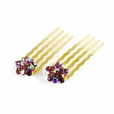 USA Mini Hair Comb Clip use Swarovski Crystal Hairpin Elegant Bridal Purple C25