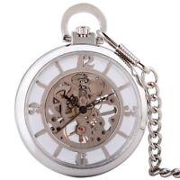Open Face Silver Vintage Mechanical Pocket Watch Chain Pendant Wind Up Antique