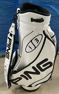 Ping i3 Specify Tour Golf Cart Bag - Tisi Tech 6 Divider - Black/White - Leather