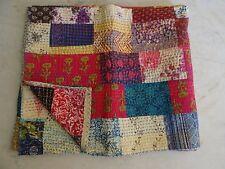 Indian cotton kantha patchwork handmade quilt antique vintage bohemian bedspread