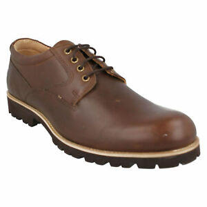 MALVERN EUSTON MENS FRONT LACE UP PLAIN BROWN LEATHER CASUAL SMART SHOES