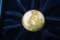 Vintage Bilston & Battersea Halcyon Days Mini Enamel Trinket Box w/ 2 Tabby Cats