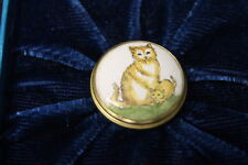 Vintage Bilston & Battersea Halcyon Days Mini Enamel Trinket Box w/ 2 Tabby Cats