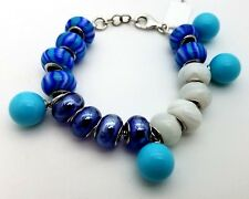 New Sterling Silver 925  Murano Glass Blue & White Charm Beads Bracelet 7.5 'in
