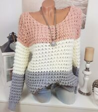 DOUILLET pull tricot grossier Pull vintage extra-large 36 38 40 ROSE GRISE crème
