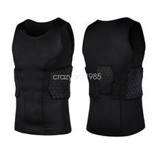 Men Sports Jersey Compression Padded Protective Shirt Basketball Train Vest Top