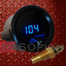 "2"" Digital Oil Temperature Gauge with Sensor - Blue LED/Black Trim"