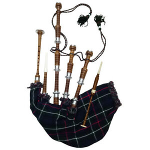 HM New Scottish Bagpipes Silver Plain Amounts/Highland Bagpipes Rosewood Natural