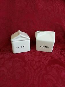 Luxe Habitat White Ceramic Sugar Creamer Set Figural Milk Carton Bag Black Print