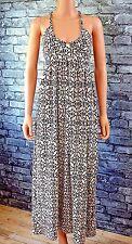 New Women's Long Sleeveless Natural Cotton Braided V-Neck Maxi Dress UK Size 8