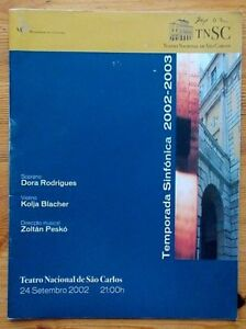 Temporada Sinfonica programme Tearro Nacional de Sao Carlos 24 September 2002