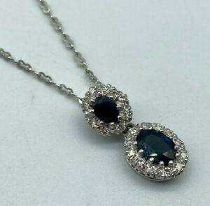 Handmade Vintage 18ct White Gold Sapphire & Diamond Necklace. Goldmine Jewellers