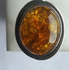 GORGEOUS NATURAL AMBER 925 STERLING SILVER RING