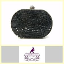 Judith Leiber black Swarovski crystal classic oval minaudiere evening bag/clutch