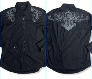 7 Diamonds Mens Sz L Black Long Sleeve Button Up Blue Contrast Stitch Shirt