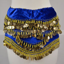 Gold Coins Sequins Beads Thick Belly Dance Hip Scarf Wrap Belt Velvet