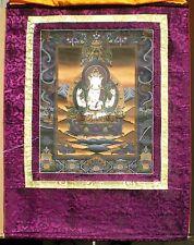 Elegant Tibetan Thangka Painting 24 Karat Gold Chenrezig Auth WC w/ Brocade