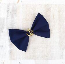 Navy Blue Nautical Sailor Anchor Rockabilly Pin up Hair Bow Clip