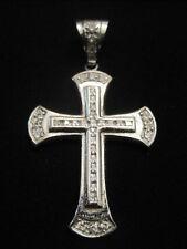 "Silver tone Cubic Zirconia Cross Pendant 2 3/4"" Tall"