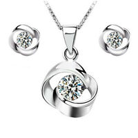 925 Silver Crystal Pendant Necklace Earrings Set Women Fashion Jewelry