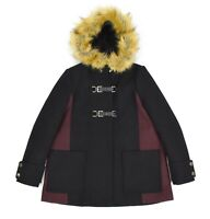 Womens Maje Black Ganxiou Wool-Blend Coat Faux Fur Trimmed Hood Size 38 / M