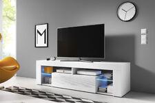 Hugo 2 Meuble TV moderne 160 cm Blanc Noir Effet Chêne LED bleue design salon