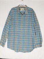 THE TERRITORY AHEAD Long Sleeve Blue Plaid Sturdy Cotton Button Down Sz XL A002
