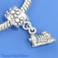 Pekingese Dog Peke 925 Solid Sterling Silver European Dangle Bead Charm Euro