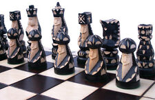 Schach Großes Schachspiel POP Handgeschnitzt Schachbrett 55x55 cm KH 110 mm Holz