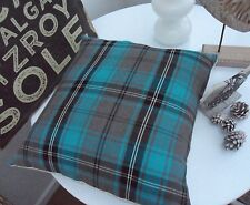 """NEW TARTAN CUSHION COVER CHECK PLAID BLUE TEAL GREY NORDIC Turquoise country 77"""""""