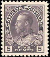 Mint H Canada 5c 1922 F+ Scott #112 King George V Admiral Issue Stamp