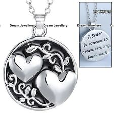 Black Silver Heart Necklace for Sister Xmas Gifts Best Friends Message Engraved
