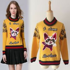 Celebrity Women Cat grille geometric embroidery Softly Wool Blend Jumper Sweater