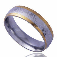 Tibet Type MEN'S BAND Ring Yellow White Gold Plate Size 9 Girls Gifts