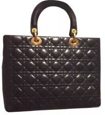 Auth Christian Lady Dior Black Cannage Lambskin Large Hand Bag