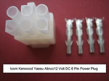 ORIGINAL ICOM KENWOOD YAESU HF 6-PIN 12V DC POWER PLUG + CORRECT SIZE PINS