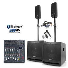 Powered Bluetooth DJ Speakers Subwoofer Poles Studiomaster Club XS10 Mixer 1000W