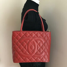 Authentic Vintage Chanel Red Caviar Medallion Tote Bag Gold HW
