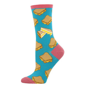 """Socksmith WNC695-TUR WOMEN'S """"GRILLED CHEESE"""" SOCKS TURQUOISE - NEW"""