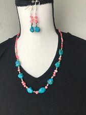 """Sleeping Beauty Turquoise Necklace Earrings Set 21.5"""""""