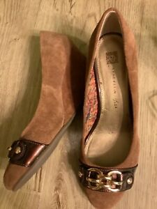 Anne Klein Brown Suede Chain Front Wedge Heel Shoes Size 10M (UK 8) BNWOT