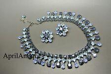 Vintage Cristobal London royal sapphire blue swarovski crystal bib necklace set